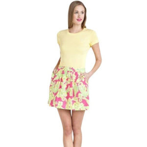 LILLY PULITZER Seahorse Whitley skirt yellow pink